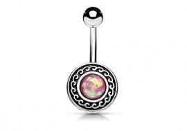 Piercing nombril tribal opale rose