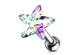 Piercing cartilage étoile cristal blanc irisé