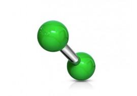 Piercing barbell bille acrylique vert