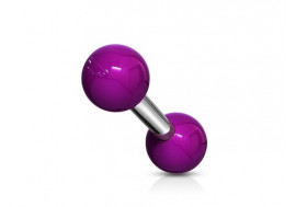 Piercing barbell bille acrylique violet