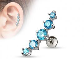 Piercing cartilage 5 pierres turquoise