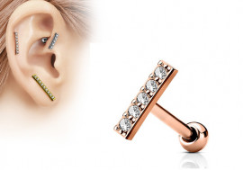 Piercing cartilage barre plaqué or rose blanche
