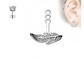 Piercing oreille Ear Cuff feuille droite