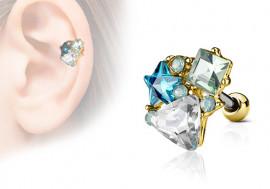 Piercing cartilage, hélix étoile et strass triangle plaqué or