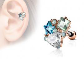 Piercing cartilage, hélix étoile et strass triangle plaqué or rose