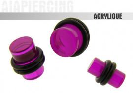 Piercing plug droit violet