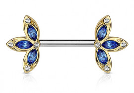 Piercing de téton double lotus bleue