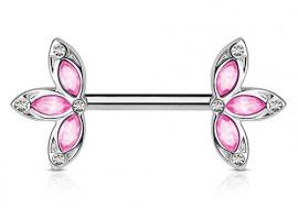 Piercing de téton double lotus rose