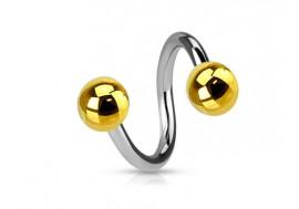 Piercing Spirale acier - Bille dorée
