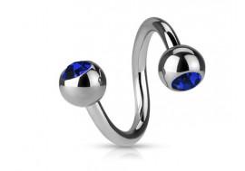 Piercing spirale cristal bleu