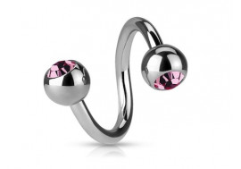 Piercing spirale cristal rose