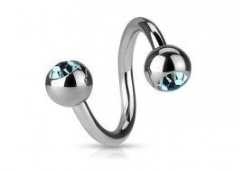 Piercing spirale cristal turquoise