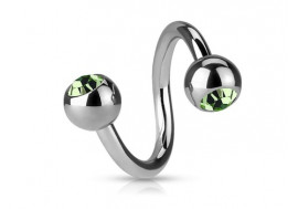 Piercing spirale cristal vert