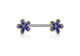 Piercing de téton double fleur bleue