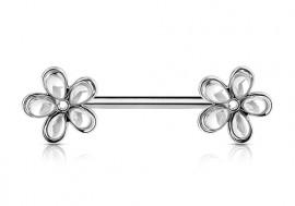 Piercing de téton double fleur blanche