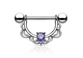 Piercing téton pendant tréssé strass violet