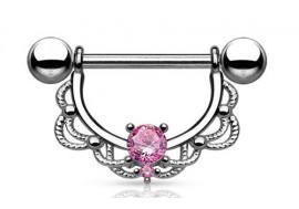 Piercing téton pendant tréssé strass rose