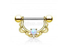 Piercing téton pendant tréssé plaqué or et opale