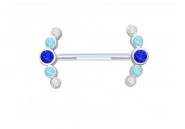 Piercing téton bioflex pierres bleues