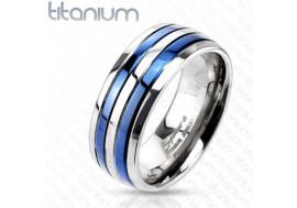 Bague en titane double bandes bleues