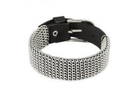 Bracelet en cuir noir avec mailles
