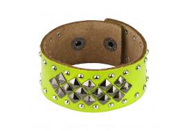 Bracelet en cuir vert fluo et pyramides
