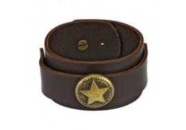 Bracelet en cuir marron et étoile