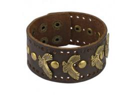 Bracelet en cuir marron aigle