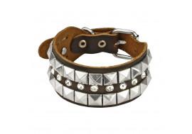 Bracelet cuir marron avec pyramides et strass