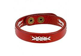 Bracelet en cuir rouge et tissage blanc