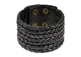 Bracelet en cuir noir tissé