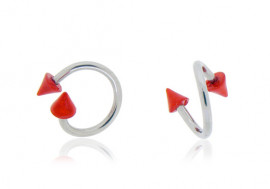 Piercing Spirale spikes acryliques rouges