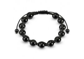 Bracelet Shamballa perles acier noir