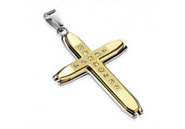 Pendentif croix en acier chirurgical et plaqué or