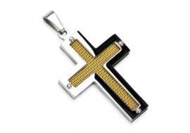 Pendentif croix et plaqué or
