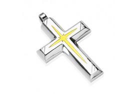 Pendentif croix et étoile or