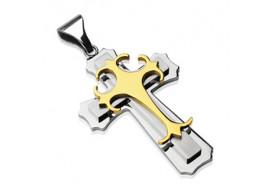 Pendentif double croix gothique or
