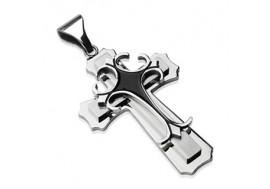 Pendentif double croix gothique noire