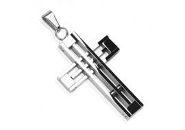 Pendentif croix en acier