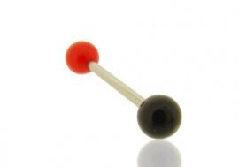 Piercing langue bicolore rouge et noir