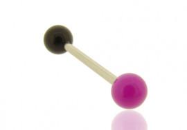 Piercing barbell bicolore violet et noir