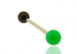 Piercing langue bicolore vert foncé et noir