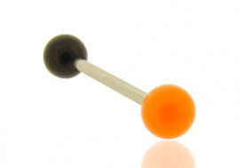 Piercing langue bicolore orange et noir
