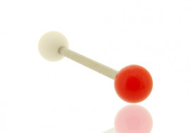 Piercing barbell bicolore blanc et rouge