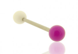 Piercing barbell bicolore blanc et violet