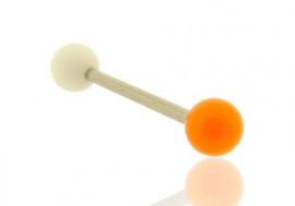 Piercing barre droite bicolore blanc et orange