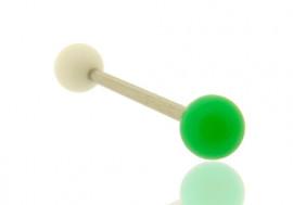 Piercing barre droite bicolore blanc et vert