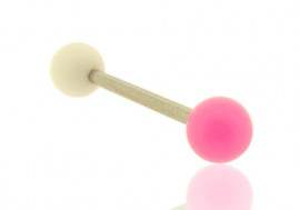 Piercing barbell bicolore blanc et rose