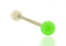 Piercing langue bicolore blanc et vert