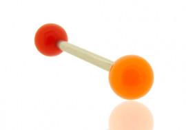 Piercing barre droite bicolore rouge et orange